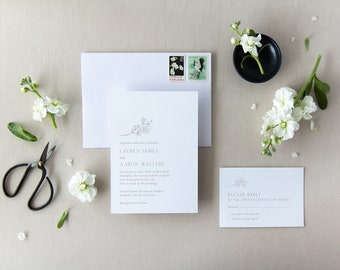 Modern, clean magnolia branch wedding invitation with RSVP card, blank main envelope, & blank RSVP envelope. Loving the negative space!