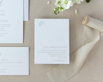 Simple, modern details card with hand drawn magnolia branch - Customize the details and your print color!
