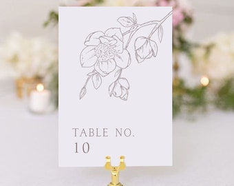 Hand Drawn Magnolia Branch Table Numbers - Single or Double-Sided, 5 x 7, magnolia sketch (unframed, no stand included)