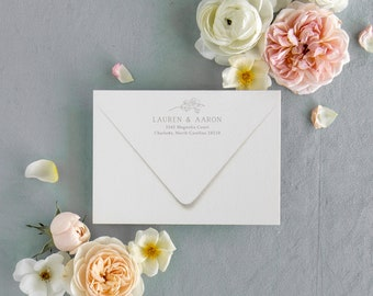 Magnolia Branch Return Address Printing Add-on - back flap of envelope, modern magnolia address printing for weddings
