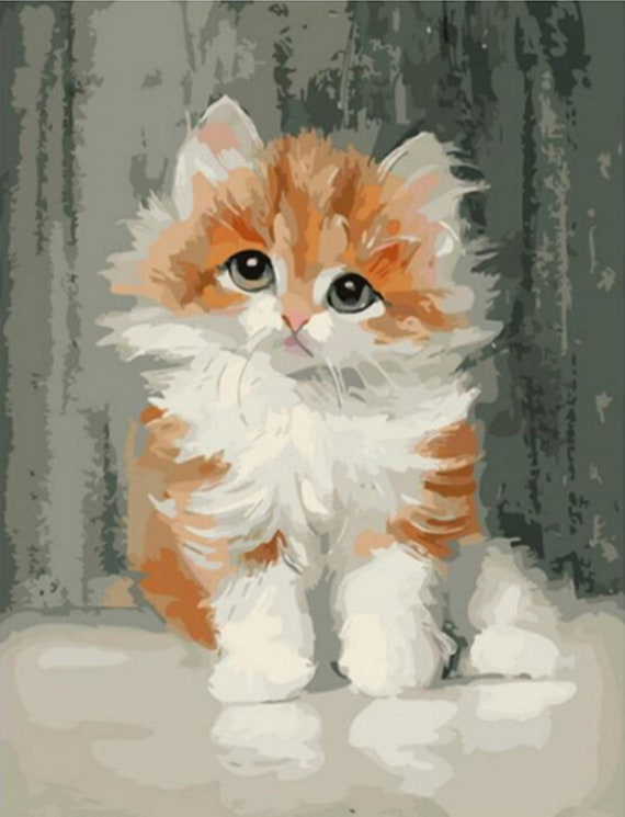 """16x20/"""" Paint By Number Painting Kit Canvas Two lazy Cute Kittens No Framed"""