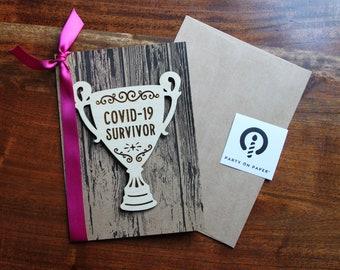 Covid 19 Survivor trophy Greeting Card