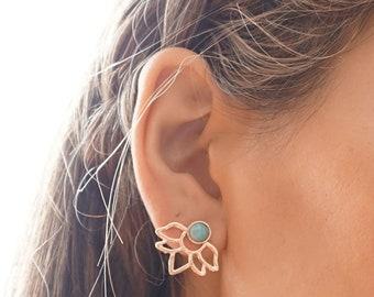 Namaste Lotus Ear Jacket Earrings, Turquoise Inspired Flower Stud Earrings, Boho Style Tranquil Simple Flower Stud Earrings