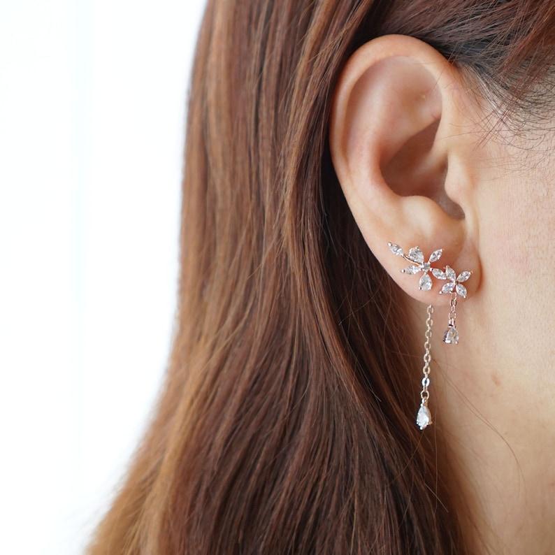 Romantic Bridesmaids Crystal Flower Ear Crawler Earrings Rose Gold Floral Earring Park Min Young Earrings Secretary Kim Floral Ear Jacket