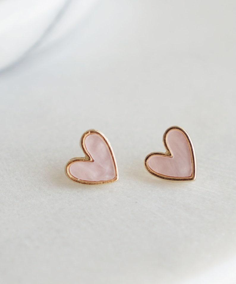 Heart Stud Earrings Pink Heart Earrings Delicate Dainty Heart image 0