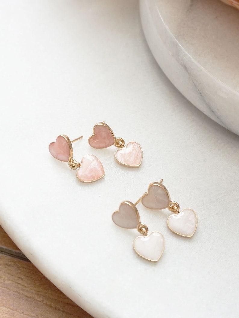 Kawaii Heart Earrings Creamy Heart Drop Earrings Marbled Peachy Pink and Milky White Double Hearts Dangle Earrings