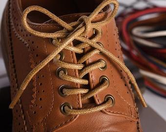 NAVY BLUE Round Premium Waxed Cotton Dress Shoelaces Shoe Boot Laces Strings
