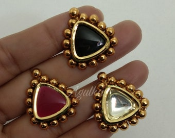 Polki Kundan RingTemple Ring22K Gold RingPearl RingEmerald Stone RingIndian Gold Plated JewelryAntique JewelryPakistani Finger Ring