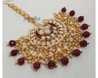 Big Red Maang Tikka Indian Headpiece Mangtika Bollywood jewelry Maang tika Kundan maangtika Maangtikka Maang tikka,Mang tikka,Mang Tika