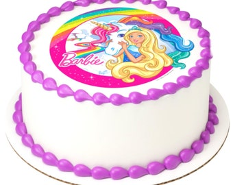 UNICORN EDIBLE ROUND BIRTHDAY CAKE TOPPER DECORATION PERSONALISED