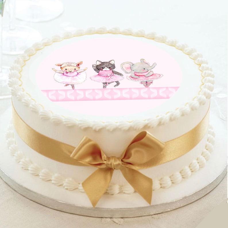 Three little Ballet Dancers deco peel and stick edible image Cute Little Animal Ballet dancers edible cake image