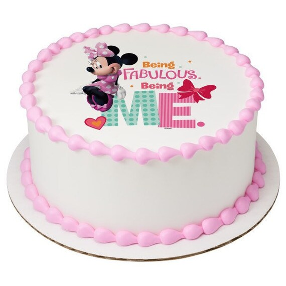 Incredible Minnie Mouse Being Fabulous Edible Cake Topper Edible Cake Etsy Funny Birthday Cards Online Amentibdeldamsfinfo