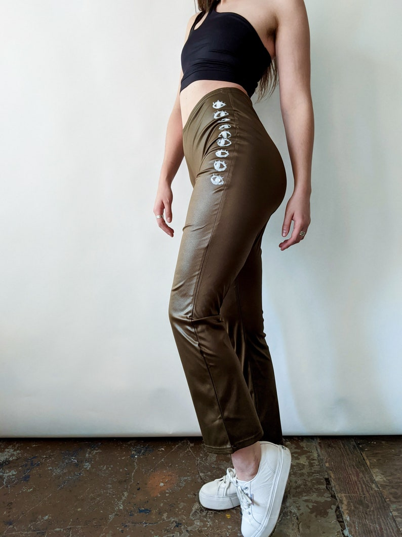 Recycled Sustainable Fitted Flare Army Green Wet Look Pants with Eye Design Hand Painted by Montreal Artist
