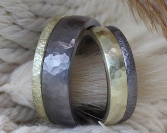 Wedding Rings Hammer Blow Tantalum Gold Yellow Gold Grey Black vintage