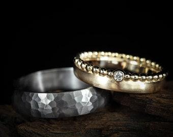 "Wedding rings "" Duo-Kombi "" in rose gold and tantalum, wedding rings gold, wedding rings gold, hammer blow"