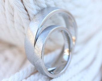 Wedding rings scratch matt made of platinum, wedding rings platinum, matt, simple, oblique matt