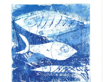 Fishes, original, unique, artist oil paint on Hahnemühle paper 190g, signed, in passepartout 20 cm x 20 cm