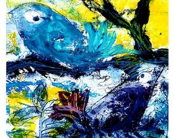 Friendly birds, original, unique, artist oil paint on Hahnemühle paper 190g, signed, in passepartout 20 cm x 20 cm