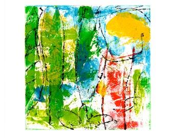Summer Impression, original, unique, artist oil paint on Hahnemühle paper 190g, signed, in passepartout 20 cm x 20 cm
