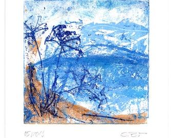 Landscape, original, unique, artist oil paint on Hahnemühle paper 190g, signed, in passepartout 20 cm x 20 cm