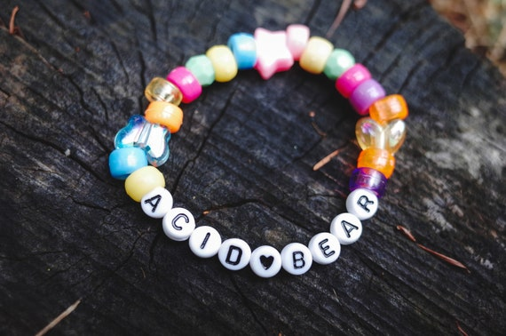 EAT ACID #3 Raver Kandi Friendship Bracelet Psytrance Plur Pastel Goth Techno Chemical Festival Fairy Gift LSD Kandi Beaded Rave Jewelry