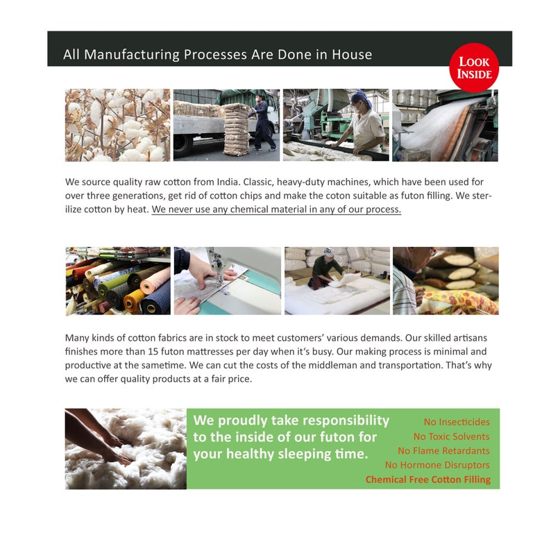 Organic Cotton Filling Japanese Futon Mattress Hand Made by Futon Craftsman Nagomi Mustard