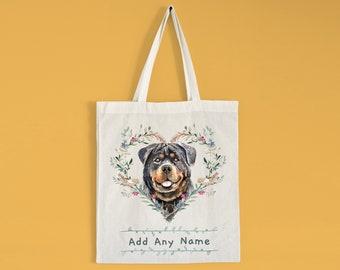 Dog lover gift Rottweiler tote bag Rottweiler mom gifts Canvas tote bag Tote bag personalised Cotton tote bag Custom dog mom bag