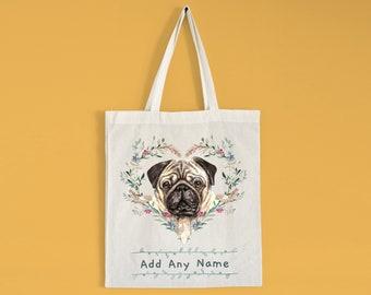 Pug Dog Canvas Tote Bag Pet Shopping Purse Beach Diaper Puppy Shopper Key Clip