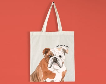 Alcohol Inks Bulldog Tote Bag Bulldog Lovers Bulldog Art Custom Dog Portrait