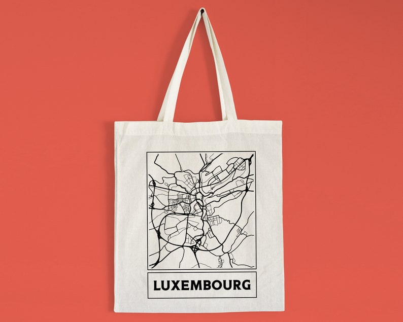 Pick a Style Luxembourg City Street Map Tote Bag