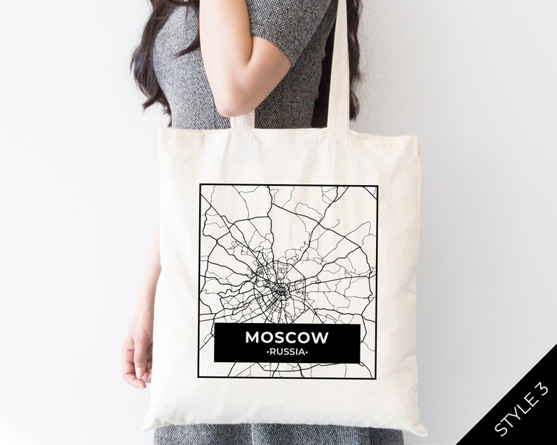 5 Styles Available Russia Moscow City Street Map Tote Bag