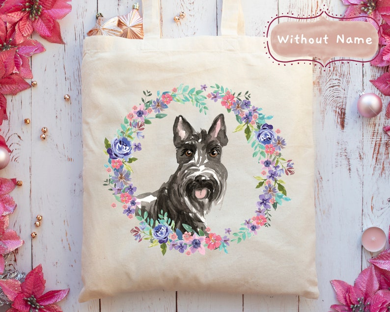 Add A Name Personalised Scottish Terrier Dog Portrait Tote Bag 5 Wreath Styles + With or Without Name