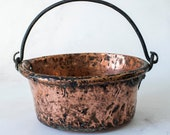 Antique Hammered Copper Pot With Handle, Wood Blocks Bucket, Red Copper Tub with Wrought Iron Carrying Handle, Primitive Jam Preserve Pot
