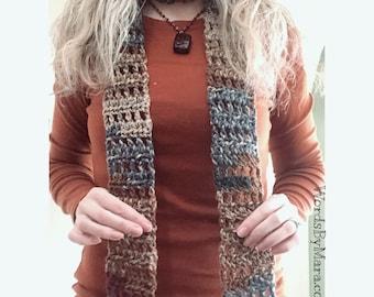 Crocheted Fashion Scarf, Brown/Blue/Tan, 75 x 3 Inches