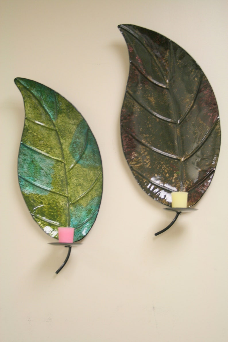 Metal Leaf Wall Mounted Candle Holder For Home Office Decor Twin Pack