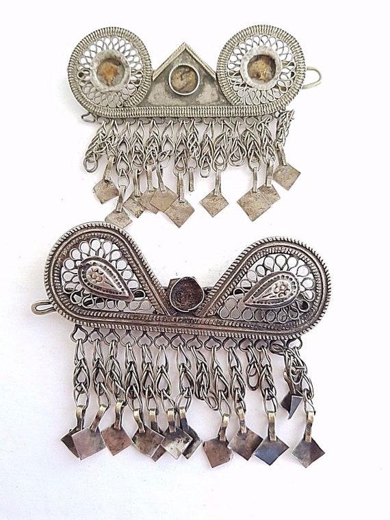 Head dress hair ornament earring pendants TWO Uzbe
