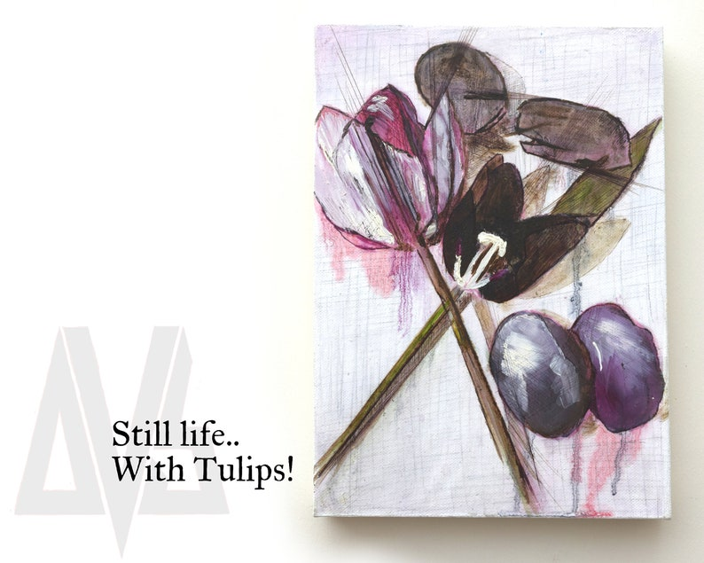 Still Life W/ Tulips  Original Artwork On Canvas. image 0
