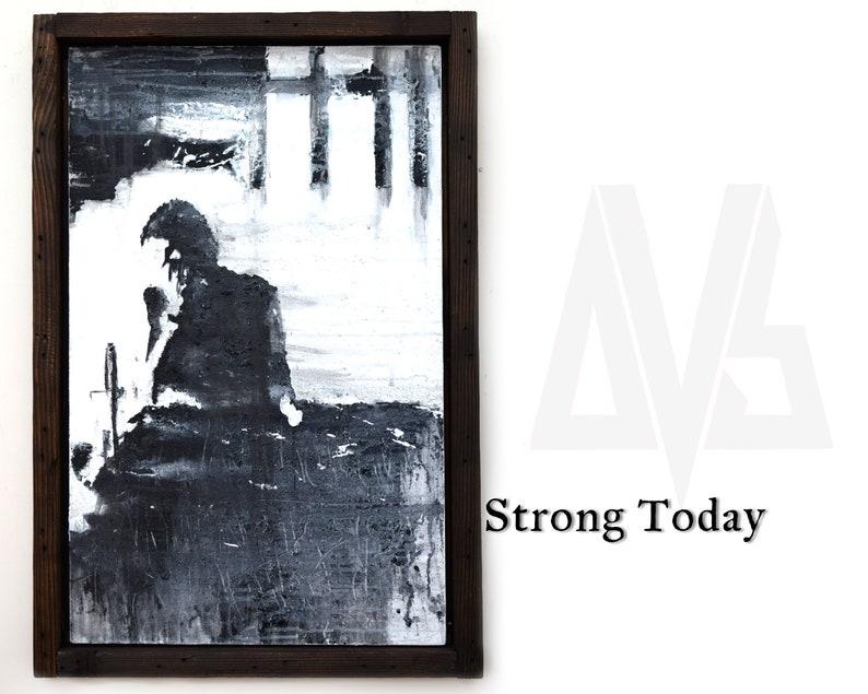 Framed Original Artwork on Canvas  Dark Art  Emotional Art  image 0
