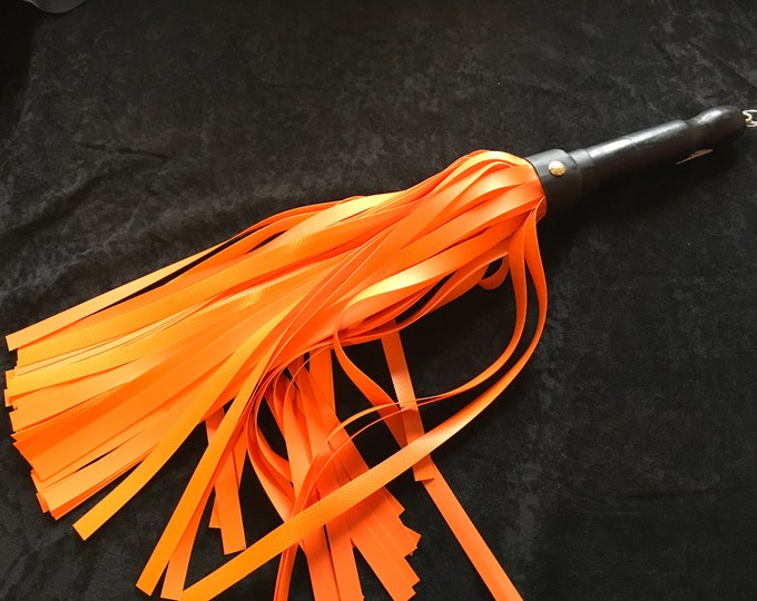 """Orange Lined PVC Flogger 76, 16"""" 1/2 Tails vegan freindly BDSM impact play fetish spanking adult toy gift master gift for him or her"""