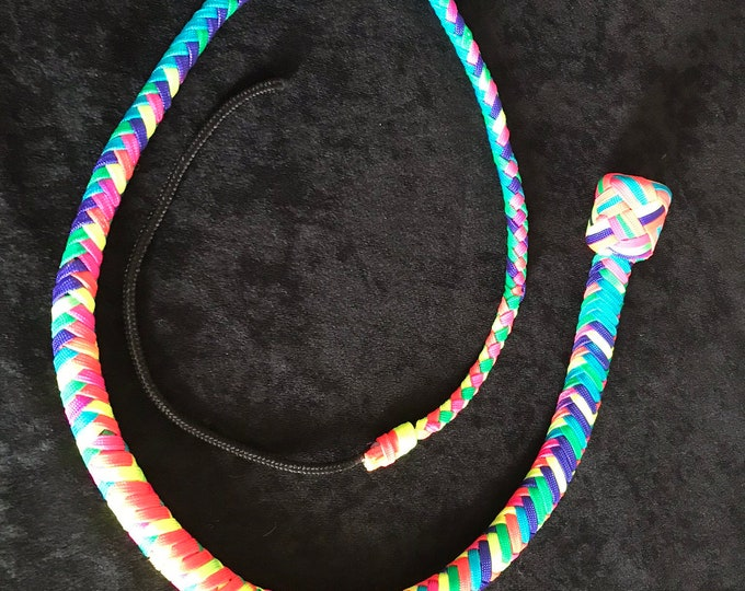 Rainbow 4ft Snake Whip vegan friendly, BDSM impact play, fetish, spanking adult toy, gift for master, mistress