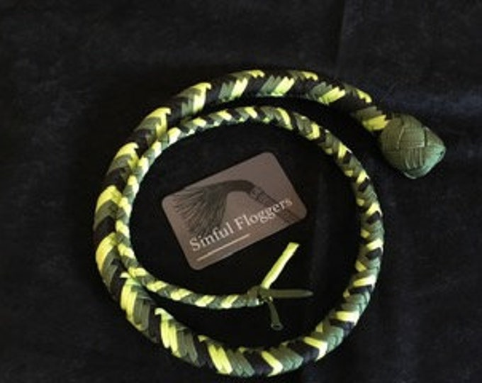 Two Tone Green & Black 4ft Snake Whip vegan friendly, BDSM impact play, fetish, spanking adult toy, gift for master, mistress
