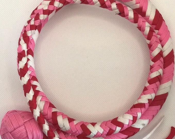 Red, Pink & White 4ft Snake Whip, Vegan Friendly