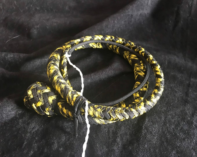 Yellow & Black 4ft Snake Whip vegan friendly, BDSM impact play, fetish, spanking adult toy, gift for master, mistress