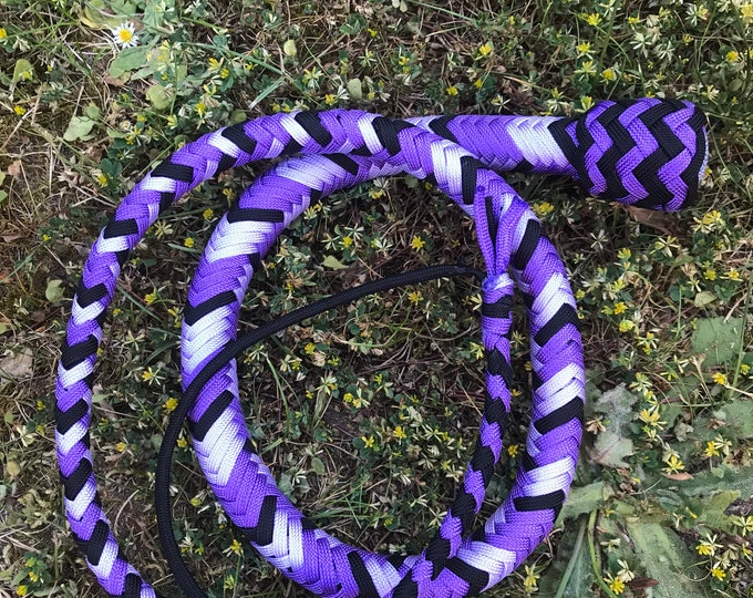 Double Purple & Black 4ft Snake Whip, Vegan Friendly