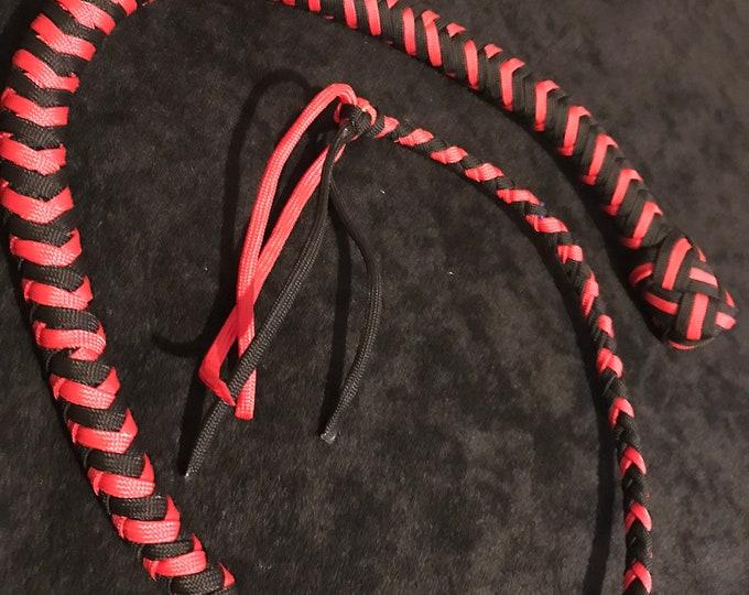 Black and Red 3ft Snake Whip, Vegan Friendly