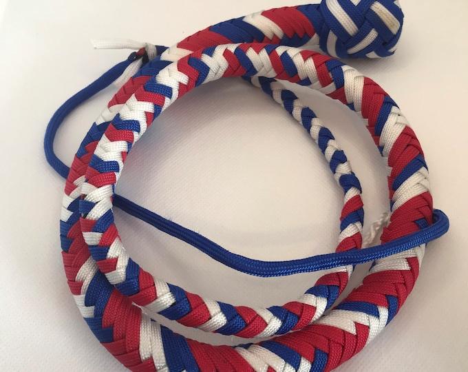 Red, White & Blue 3ft Snake Whip, Vegan Friendly