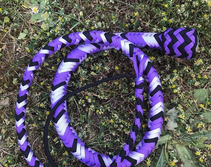Double Purple & Black 4ft Snake Whip, Vegan Friendly