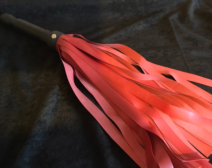 Red Latex Flogger 3/4 Tails, Vegan Friendly
