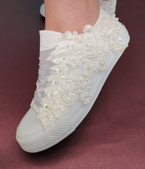Luxury Bridal Shoes HAND BEADED Lace Up