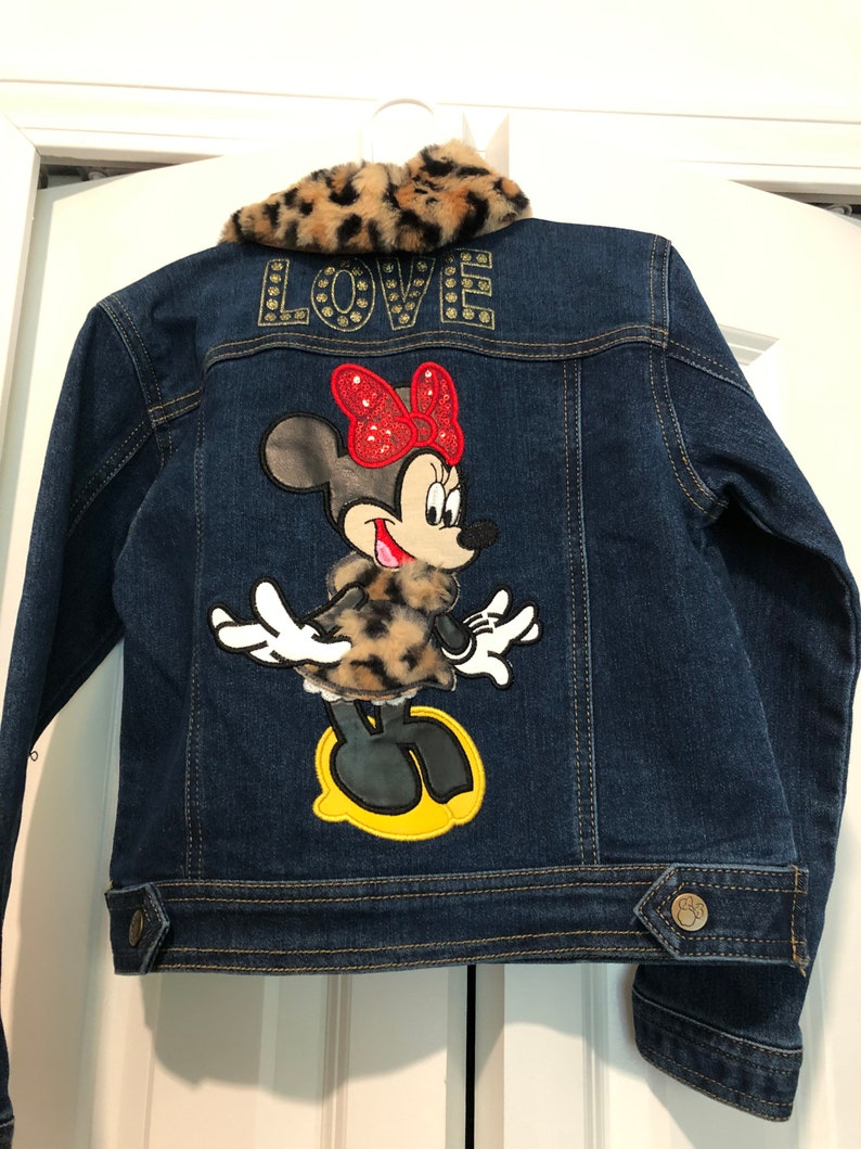 Toddler Custom \u201cLeopard Minnie \u201cDenim Patchwork Embellished Jean Jacket